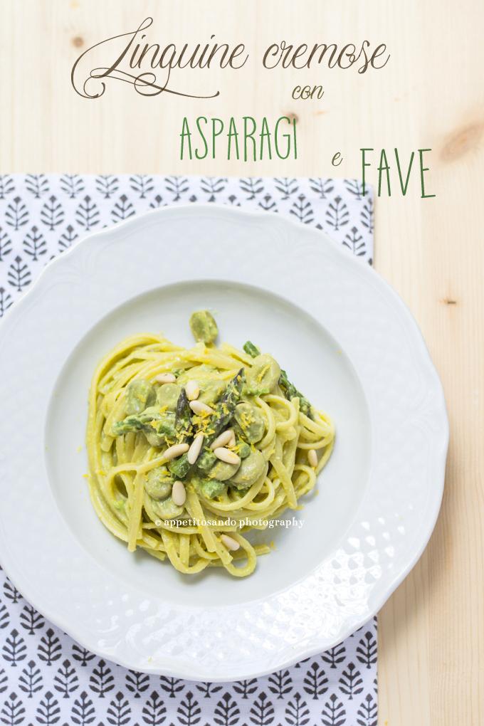 Linguine cremose con fave, asparagi e pinoli
